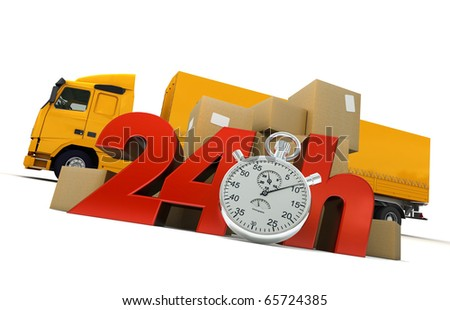 3D rendering of  a pile of packages  and a truck with the words 24 Hrs and a chronometer - stock photo