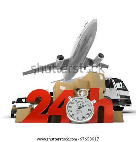 3D rendering of  a pile of packages and an airplane with the words 24 Hrs and a chronometer