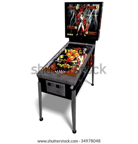 3D rendering of a pinball with clipping path and shadow over white - stock photo