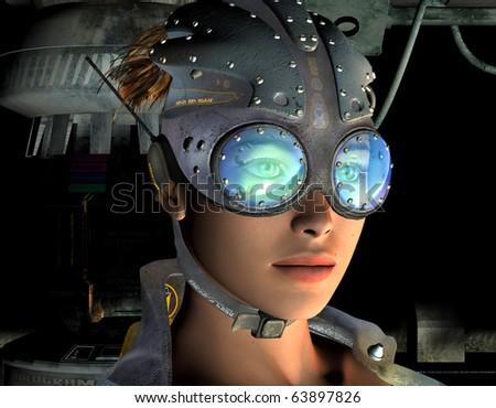3D rendering of a portrait of a post-apocalyptic young woman - stock photo