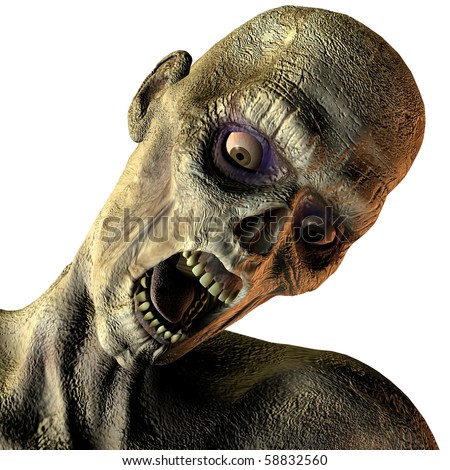 3D rendering of a portrait of screaming undead - stock photo