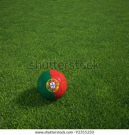 3d rendering of a portuguese soccerball lying on grass