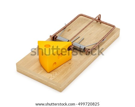 3d rendering of a rat trap with a cheese, isolated on white