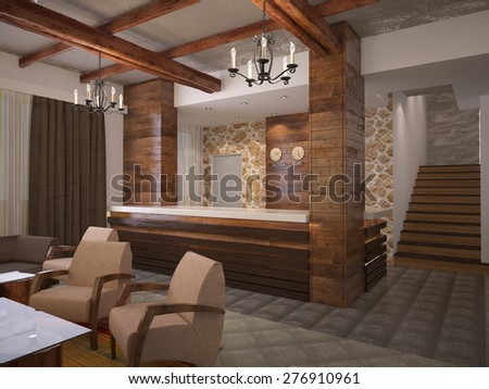 3d rendering of a reception hotel interior design