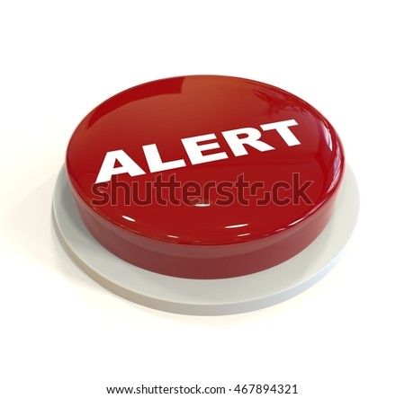 3d rendering of a red button with alert written on it isolated on white background