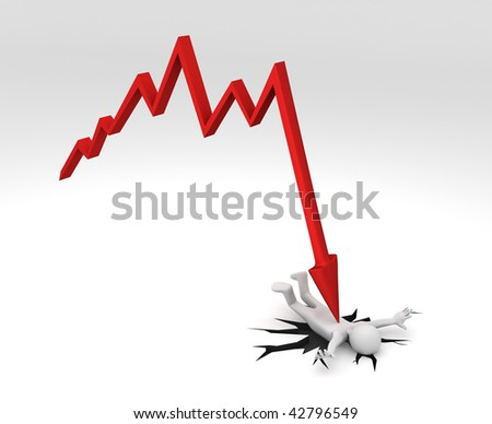 3D rendering of a red Financial Chart crashing down on figure creating a big crack on the ground. - stock photo