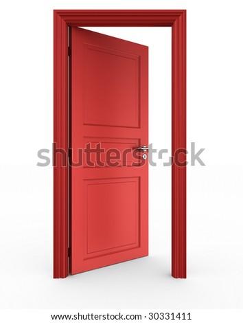 3d rendering of a red open door standing on a white floor - stock photo