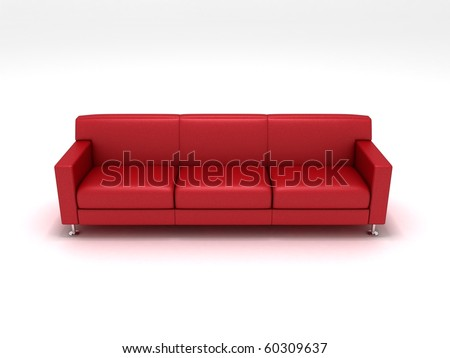 3D rendering of a red sofa