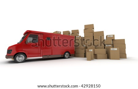 3D rendering of a red van and piles of cardboard boxes (I made up the information on the labels so no copyright issue) - stock photo