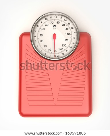 3D rendering of a red weight scale  - stock photo