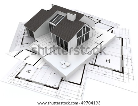 3D rendering of a residential architecture model on top of blueprints - stock photo