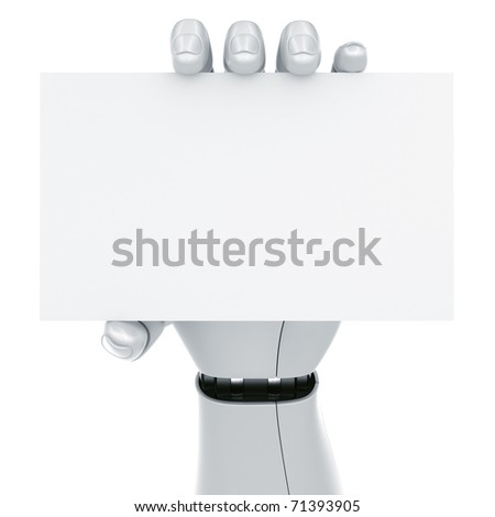 3d rendering of a robot hand holding a blank sign - stock photo