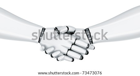 3d rendering of a robot shaking hands - stock photo
