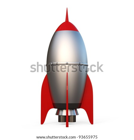 3D rendering of a Rocket isolated on white background - stock photo