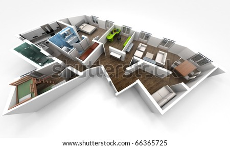 3D rendering of a roofless architecture model showing an apartment interior fully furnished - stock photo