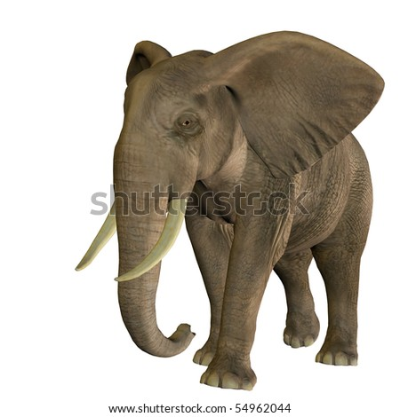 3D rendering of a running African elephant