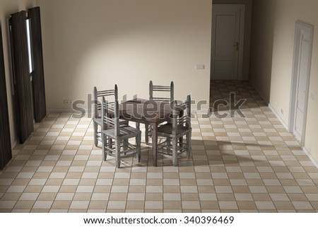 3d rendering of a rustic table and chairs