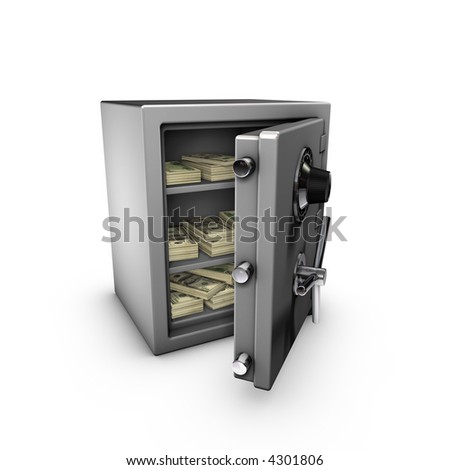 3d rendering of a safe, isolated on white background,  with a lot of dollars inside.