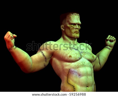 3D rendering of a scarred, muscular Monster - stock photo