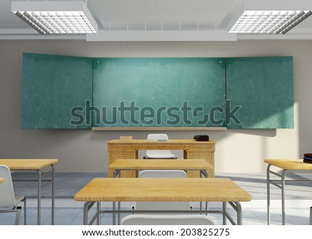 3D rendering of a school classroom - stock photo