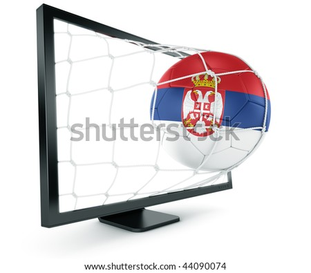 3d rendering of a Serbian soccer ball coming out of a monitor - stock photo