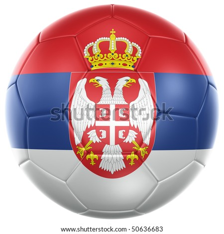 3d rendering of a Serbian soccer ball isolated on a white background - stock photo