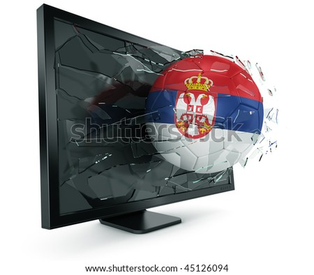 3d rendering of a Serbian soccerball breaking through monitor - stock photo