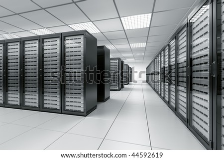 3d rendering of a server room with black servers - stock photo