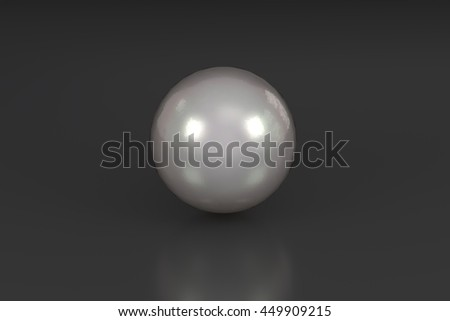 3D rendering of a shiny pearl in black glossy background - stock photo
