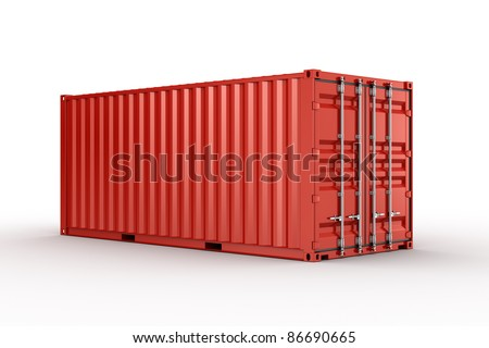 3d rendering of a shipping container - stock photo