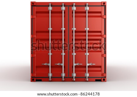 3d rendering of a shipping container seen straight on - stock photo