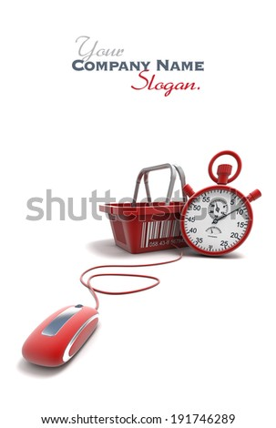 3D rendering of a shopping basket connected to a computer mouse with a timer  - stock photo