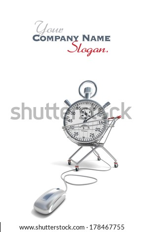 3D rendering of a shopping cart with a stopwatch inside connected to a computer mouse  - stock photo