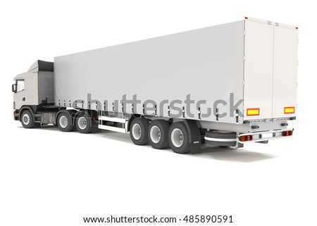 3d rendering of a silver cargo truck over white background.