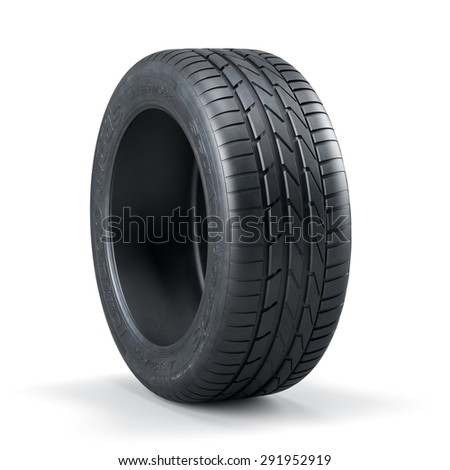 3d rendering of a single new unused car tire isolated on white background - stock photo