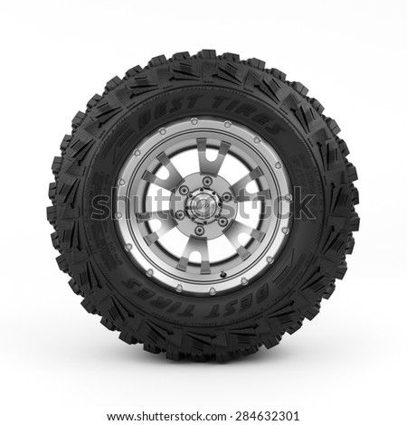 3d rendering of a single tire on a white background