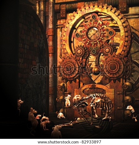 3d rendering of a skeleton with rats in an old building in the Steampunk style as an illustration - stock photo