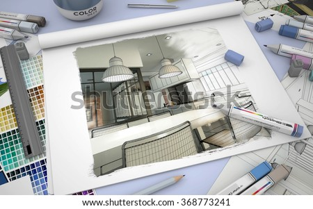 3D rendering of a sketch book with a modern kitchen interior, color swatches and markers - stock photo