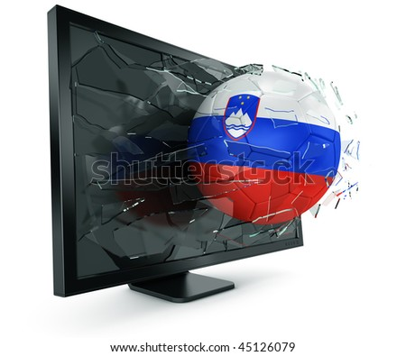 3d rendering of a Slovenian soccerball breaking through monitor - stock photo