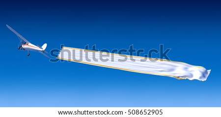 3D rendering of a small aircraft carrying a blank banner ideal for inserting your own message
