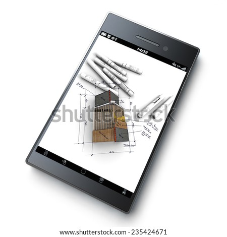 3D rendering of a smart phone with a house with exposed roof layers on top of blueprints jutting out - stock photo