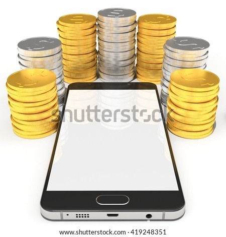 3D Rendering of a Smart phone with money concept. On white background. - stock photo