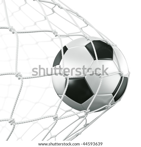 3d rendering of a soccer ball in a net - stock photo
