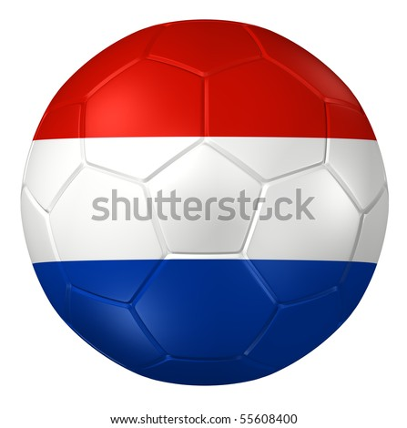 3d rendering of a soccer ball. ( Netherland Flag Pattern ) - stock photo