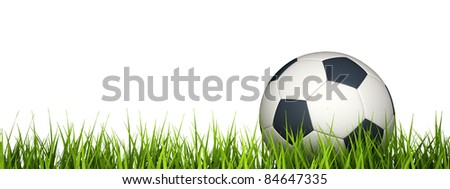 3d rendering of a soccer ball on grass. - stock photo