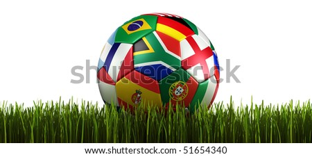 3d rendering of a soccer ball on grass. With flags of the participating countries in world cup 2010 - stock photo
