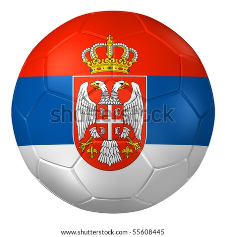 3d rendering of a soccer ball. ( Serbia Flag Pattern ) - stock photo