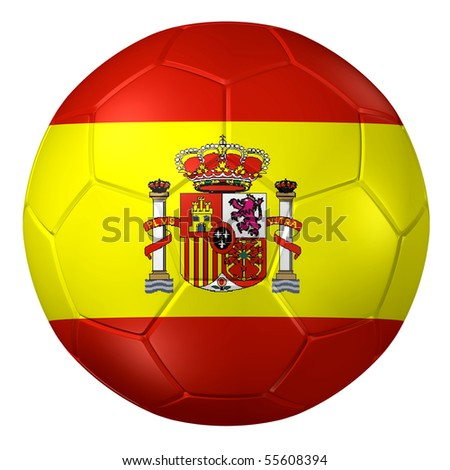 3d rendering of a soccer ball. ( Spain Flag Pattern ) - stock photo