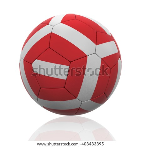 3D rendering of a soccer ball with Austria flag on white. - stock photo