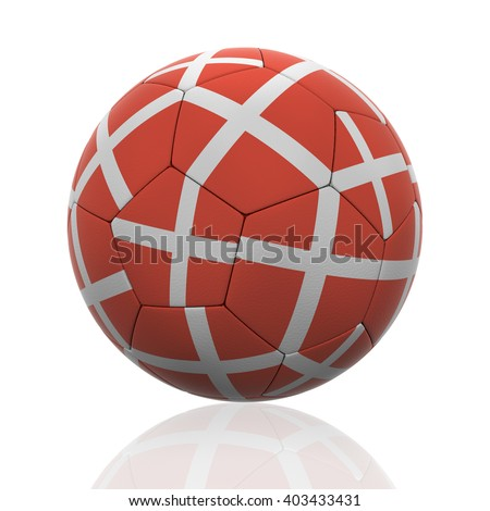 3D rendering of a soccer ball with Denmark flag on white. - stock photo